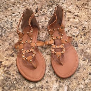 Tan sandals with gold studs & zipper in back